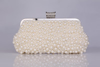 Wholesale Cream Evening Clutches with Pearls Wedding Clutches Prom Clutches Bridesmaid Clutches Bridal Purse Wedding Accessory Bridal Hand Bags