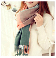 Wholesale 72 cm Classic warm Knitted Women s Cotton Scarves Cashmere Lady s Scarf plaid Tassels Shawl scarves for Christmas gift