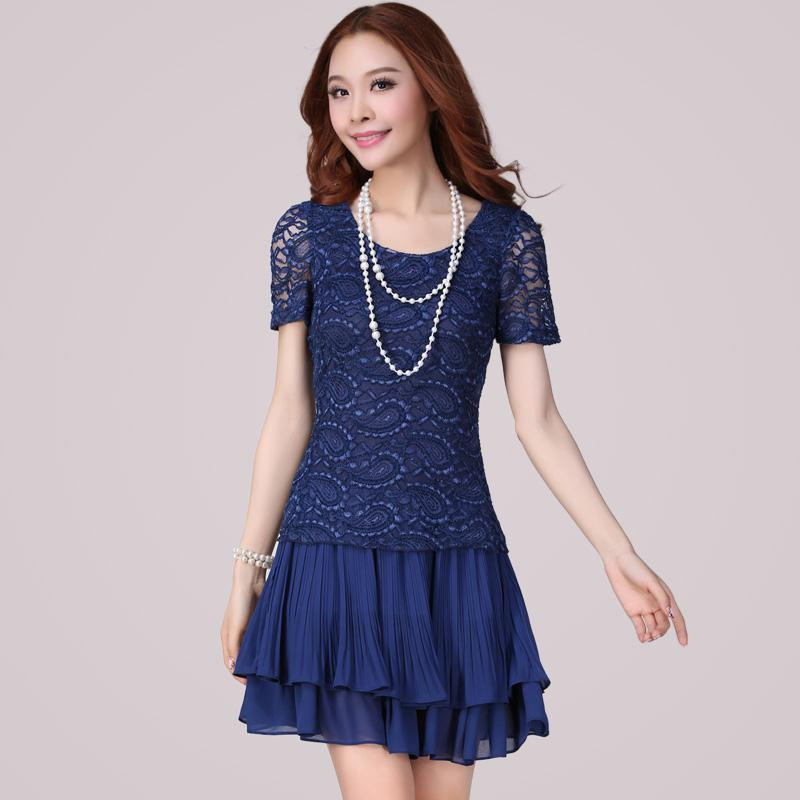 XL~4XL Womens Plus Size Short-sleeved Dropped Waist Lace Patchwork ...