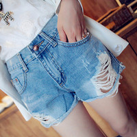 Wholesale 2014 New Low Sale Rushed Freeshipping Cotton Washed Plaid Capris Skinny Denim Personality All match Roll up Hem Wool Water Wash