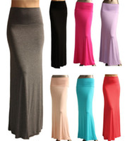 Polyester maxi dress - 50pcs Free DHL Shipping Cost Sexy Maxi Dress Full Length High waist Fold over Long Skirt S M L XL DH04