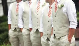 Wholesale New arrival cheap custom made Groom Tuxedos four buttons ivory color Men Bridesgroom Groomsmens waistcoat EM02337