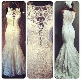 New Arrival Mermaid Lace Wedding Dresses Princess Elegant Appliques Beaded Scoop Sheer Long Bridal Gowns W1270 Custom Made Real Image