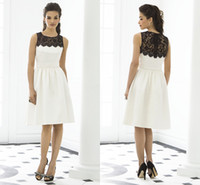 Wholesale 2014 fashionable sexy satin black and white lace Jewel Knee Length evening dress bridesmaid wedding dresses HY032