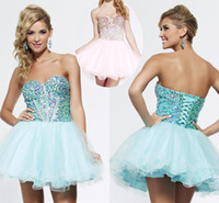 Reference Images Ployester Sweetheart Charming 2014 New Mini Short Graduation Dresses A Line Sweet New Beads Custom Tulle Lace Up Back Lovely Girls Made In China Prom Party Gowns