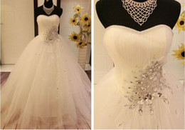 Wholesale Real Picture Rhinestone Crystal Wedding Dress Sleeveless Stunning Organza A Line Strapless Beautiful Bridal Dress Gown Ball Custom Made