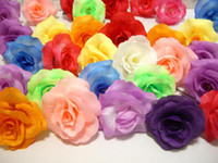 Wholesale 200Pcs Diameter Colours Optional Silk Flower Rose with Stem Fake Artificial Roses Head Wedding Christmas Tree decoration Floral wreath