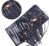 Wholesale 32pcs Professional Makeup Brushes make up Cosmetic Brush Set Kit Tool Roll Up Case eyeliner lipbrush Foundation Brush ETC Soft Goat Hair