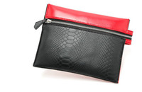 Handbags Small(20-30cm) Interior Slot Pocket Wholesale-Elegant Luxury Red And Black Stitching Famous Brand Designer Handbag Purses Women Cosmetic Crocodile Envelope Clutch Evening Bag