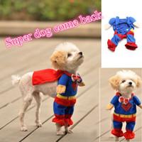 Wholesale Hot Sale Cute Superman Style Dog Clothes Halloween Fashion Costumes Puppy Jumpsuit Summer Autumn Cotton Pet Clothing