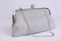 Clutches rhinestone handbags - Silvery Bridal Clutches with Rhinestones and Crystals Metal Wedding Clutches Evening Clutches Prom Handbag Bridesmaid Purse Bridal Hand Bags