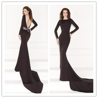Cheap Reference Images Black evening dress Best Crew Elastic Satin long sleeve formal gowns