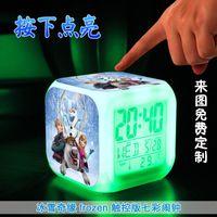 Wholesale New D cartoon Frozen Digital desk table alarm clock Elsa Anna olaf snowman daily alarms change watch Glowing Clocks with retail box