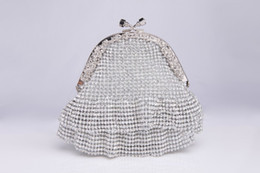 Wholesale Cheap Clutch Purses Leather - Silver Bridal Clutches with Rhinestones Vintage Wedding Clutches Cheap Evening Clutches Handbag Bridesmaid Purse Bridal Hand Bags with Chain