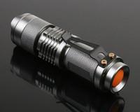 Wholesale 7W LM Mini CREE Q5 LED Flashlight Torch Adjustable Focus Zoom Light Lamp Flash Light DHL ZKT