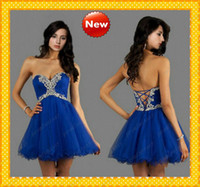 Lace up Corset and Tulle Short Royal Blue Sexy Homecoming Pr...