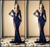 Crew blue prom dresses - 2015 Vintage Navy Blue Long Sleeve Evening Dresses Sequins Sheath Sheer Neck See Through Lace Tulle Formal Long Prom Dresses Gowns BO2145