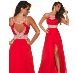 Wholesale 2014 Red Chiffon A line Party Dresses with Sequins Backless Special Occasion Pageant Gowns SK