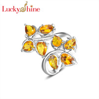 Wholesale Luckyshine piece Christmas silver plated Delicate Leaf shape yellow Topaz crystal Ring for lady gift R285