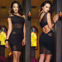 Wholesale Sexy Black One Shoulder Cut Out Open Back Mesh Mini Cocktail Evening Club Dress DH04
