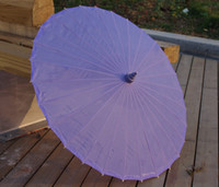 Wholesale Light Purple Plain Fabric Bamboo Parasol Umbrella Great For Wedding Favor