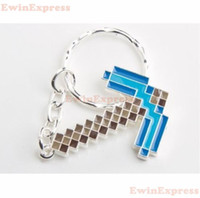 Wholesale 20x Minecraft Diamond Pickaxe Metal Key Chain Blue Silver