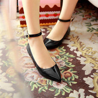 Wholesale Womens Comfort Casual Ankle Strap Pointed Toe Ballet Flats Slip On Loafer Shoes
