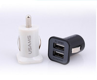 Car Chargers Universal  USAMS 3.1A USB Dual Car Charger 5V 3100mah Dual 2 Port car Chargers Adapter for iPhone 5 5S iPod iTouch HTC Samsung s3 s4 s5 Tablet PC