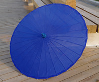 Wholesale Royal Blue Plain Fabric Bamboo Parasol Umbrella Great For Wedding Favor
