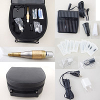 Professional Kit tattoo machine case - Super Permanent Makeup Kits Golden Machine Needles Tips Case Caps Footswitch For Eyebrow Tattooing