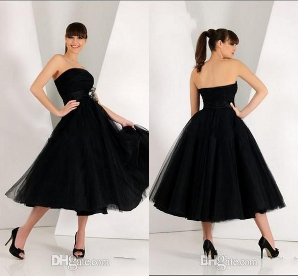 Custom Made Elegant Simple Black Strapless f The