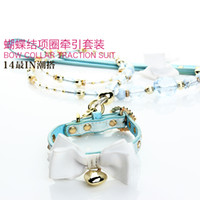 bowknot collar and beads traction belt crystal traction rope...