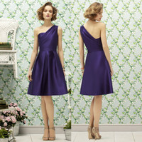 Reference Images satin Ruffle Dark Purple Satin Short Junior Bridesmaid Dresses 2014 Timeless One Shoulder A-line Custom Ruched Hottest Cheap Formal Wedding Guest Gowns