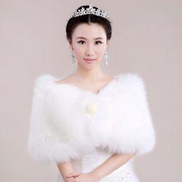Long Elegant White Faux Fur Shrug Cape Stole Wrap Pearl Bottun High Quality Wedding Bridal Special Occasion Shawl