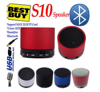 Wholesale S10 Bluetooth Speakers Steel frame Mini Wireless Portable Speakers HI FI Music Player Audio for phone Mp3 PSP Tablet DHL FREE Best