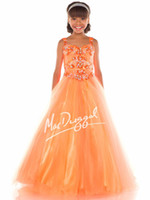 Reference Images Girl Beads Orange Tank Strap Luxury 2014 Hot Teens Girl's Pageant Dresses Square Neck Tulle Crystal Jewel Floor Length Formal Flower Girl Ball Gowns