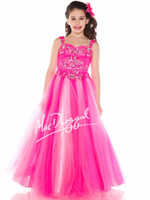 Reference Images Girl Beads Hot Pink Tank Strap Luxury 2014 New Teens Girl's Pageant Dresses Square Neck Tulle Crystal Jewel Floor Length Formal Flower Girl Ball Gowns