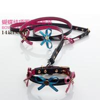 Free shipping PU strap collar crystal traction rope Princess...