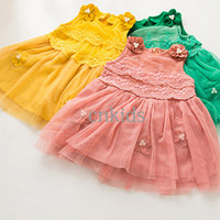 TuTu Summer Pleated 2014 Fall New Style Girls Princess Dress Korean Style Polyester Yollew Girl Party Dress Fruit Color Children Clothes GD40823-8
