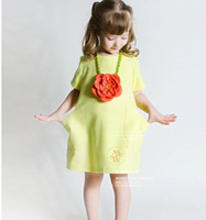 Cheap 2015 Summer European and American style children princess dress girls Fruit Green double pocket dress kids cotton short sleeve dress A4646