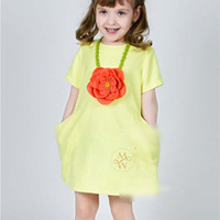 TuTu Summer A-Line New Summer European and American style children princess dress girls Fruit Green double pocket dress kids cotton short sleeve dress A4646