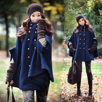 Wholesale 2014 New Arrival Coat Fashion Women Winter Coat Cape Poncho Christmas Parka Ladies Peacoat Batwing Sleeve Trench Coat JACKET Outwear W30