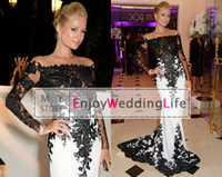 Wholesale 2015 Sexy Sheer Long Sleeves Black White Evening Dresses Mermaid Lace Court Train Celebrity Red Carpet Prom Gowns BO6607