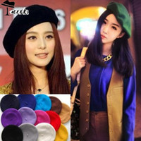 Wholesale 19 colors berets PC Fashion Solid Warm Wool Military Women Girl caps French Artist Hat MZN009