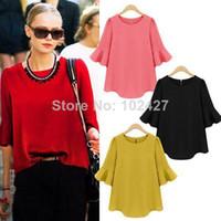V-Neck Flutter Sleeve Regular Wholesale - New Spring Summer 2014 Women Chiffon Blouses Half Sleeve Shirts O-Neck Tops for Women's Clothing S-XXL