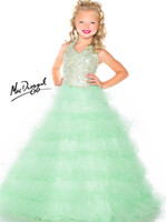 Reference Images Girl Beads Halter Teal Green Luxury 2014 New Teens Girl's Pageant Dresses Tulle Tiers Sequins Crystal Jewel Floor Length Formal Flower Girl Ball Gowns