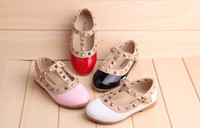 Wholesale Party Studded Flats Shoes Baby girls Autumn Princess PU leather Red Kids girl runway Shoes