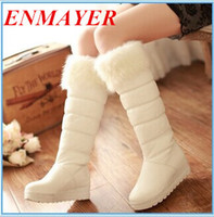 Knee Boots big rider - ENMAYER Big Size Snow Boots Warm Fur Winter Shoes Brand Design Flats Heel Round Toe Platform Rider Boots for Women