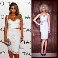 Wholesale Kim Kardashian White Spaghetti Traps Sweetheart Sexy Crop Top Lace Two Piece Knee Length Celebrity Dresses For Cocktail Party Gowns