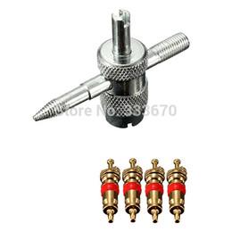 Descuento repara coches 4-WAY de válvula del neumático del coche camión neumático de la bici de reparación de accesorios para herramientas con 4 Válvula Cores envío gratuito
